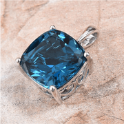 London Blue Topaz Cushion Solitaire Pendant in 10K White Gold 14.25ct Gemstone Collectors U.S.