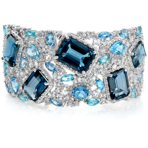 London Blue Topaz & Multi Gemstone Bangle Bracelet in Platinum over Sterling Silver Gemstone Collectors U.S.