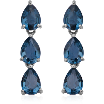 London Blue Topaz Pear Shape Dangle Earrings in Platinum over Sterling Silver Gemstone Collectors U.S.