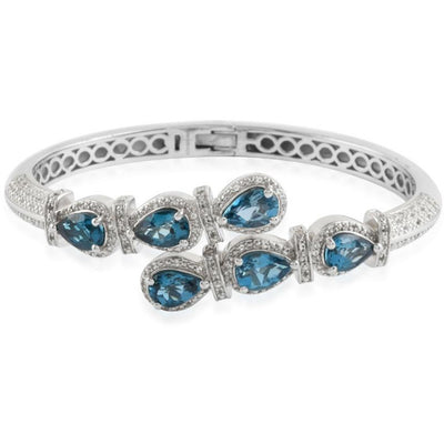 London Blue Topaz & White Topaz Bangle Bracelet in Platinum over Sterling Silver Gemstone Collectors U.S.