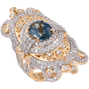 London Blue Topaz & White Zircon Ring in 14K Yellow Gold over Sterling Silver Gemstone Collectors U.S.