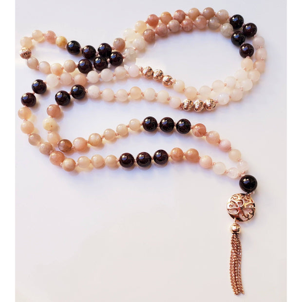 Love Thyself Mala Necklace with Garnet, Pink Opal, Sunstone And Rose Quartz and Rose Gold over Sterling Silver Tassle Mindful Creations by Gloria