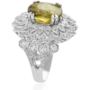 Madagascar Sphene & Diamond 18k White Gold Cocktail Ring Gemstone Collectors U.S.