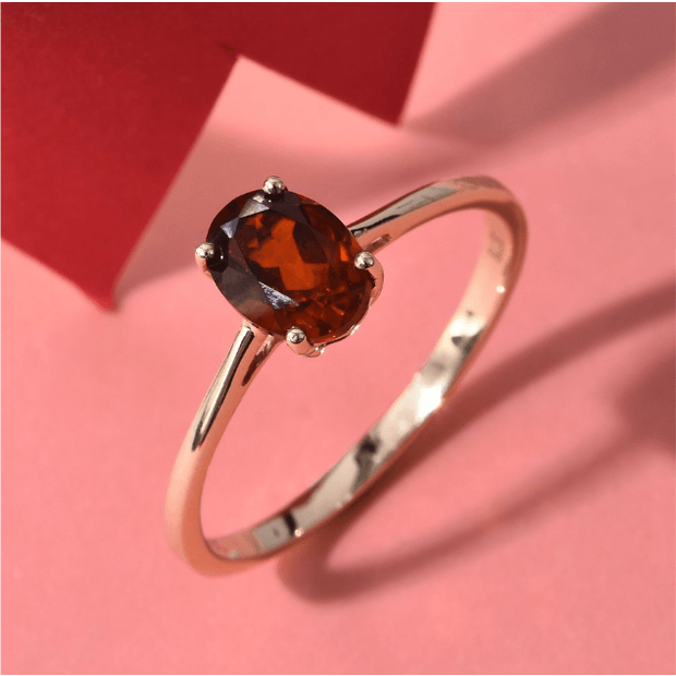 Madeira Citrine Oval Solitaire Ring in 10K Yellow Gold Gemstone Collectors U.S.