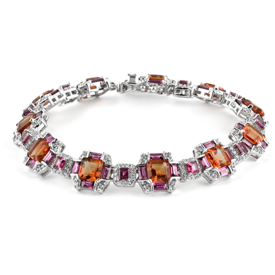 Madeira Citrine, Rhodolite Garnet & Zircon Bracelet in Platinum over Sterling Silver Gemstone Collectors U.S.