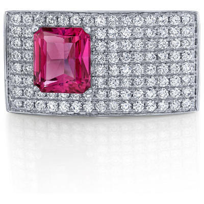 Mahenge Pink Spinel ring in 14K White Gold Gemstone Collectors U.S.