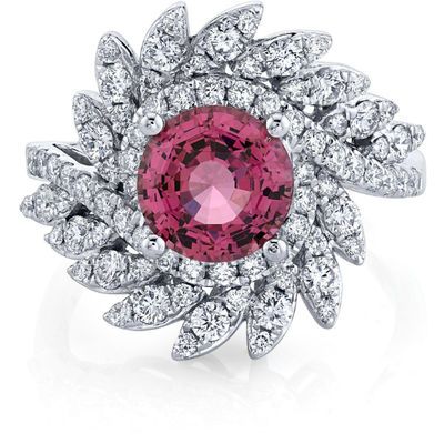 Mahenge Pink Spinel Ring with Diamonds in 14K White Gold Gemstone Collectors U.S.