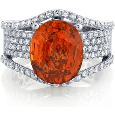 Mandarin Garnet & Diamond 14k White Gold Ring Gemstone Collectors U.S.