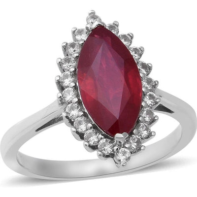 Marquise Ruby & White Zircon Halo Ring in Platinum over Sterling Silver Gemstone Collectors U.S.