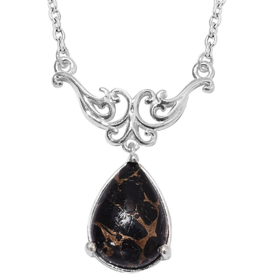 "Matrix Black Spinel Necklace 18"" Sterling Silver with Stainless Steel Chain Gemstone Collectors U.S."