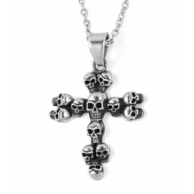Men's Skull Cross Necklace in Surgical Grade Stainless Steel Gemstone Collectors U.S.
