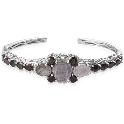 "Meteorite & Shungite Cuff Bracelet in Platinum over Sterling Silver 7.5"" Gemstone Collectors U.S."