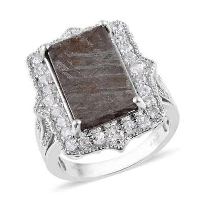 Meteorite Slice & White Zircon Ring in Platinum over Sterling Silver Gemstone Collectors U.S.