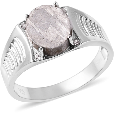 Meteorite & White Zircon Men's Ring in Sterling Silver Gemstone Collectors U.S.