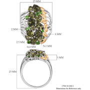 Moldavite & Chrome Diopside Cluster Ring in Yellow Gold & Platinum over Sterling Silver Gemstone Collectors U.S.