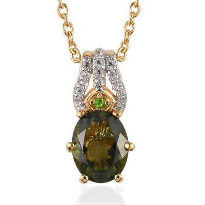 "Moldavite & Multi Gemstone Pendant Necklace 20"" in Yellow Gold over Sterling Silver Gemstone Collectors U.S."