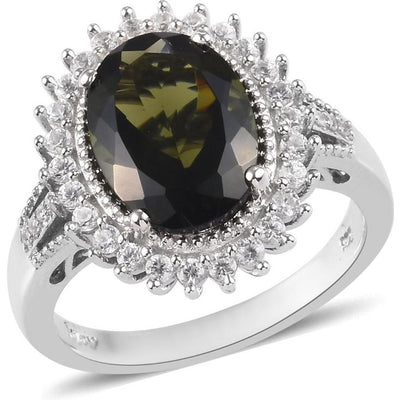 Moldavite & Zircon Halo Ring in Platinum over Sterling Silver Gemstone Collectors U.S.