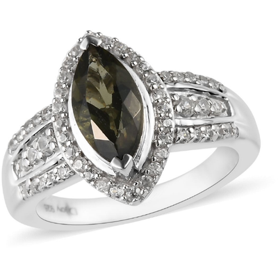 Moldavite & Zircon Marquise Halo Ring in Platinum over Sterling Silver Gemstone Collectors U.S.