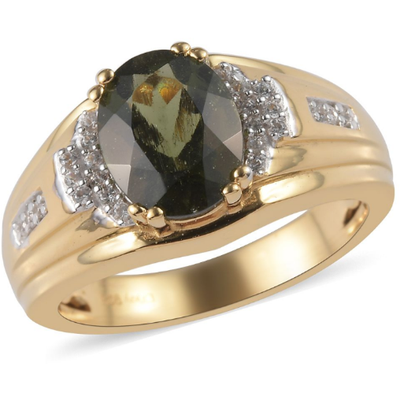 Moldavite & Zircon Men's Ring in 18k Yellow Gold over Sterling Silver Gemstone Collectors U.S.