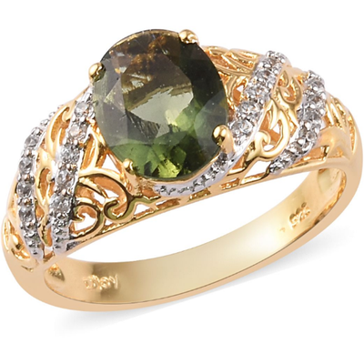 Moldavite & Zircon Ring in Yellow Gold over Sterling Silver Gemstone Collectors U.S.