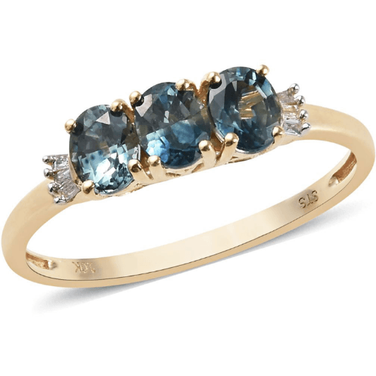 Montana Sapphire & Diamond Accents Trilogy Ring in 10K Yellow Gold Gemstone Collectors U.S.