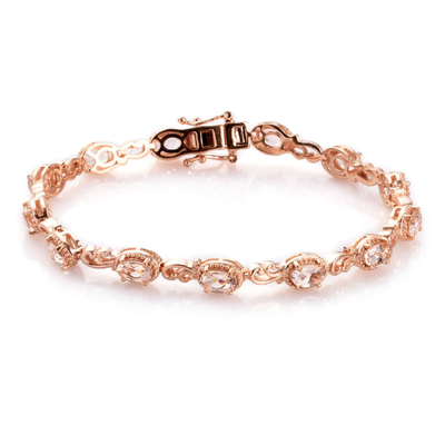 "Morganite Bracelet in Rose Gold over Sterling Silver (7.25"") Gemstone Collectors U.S."