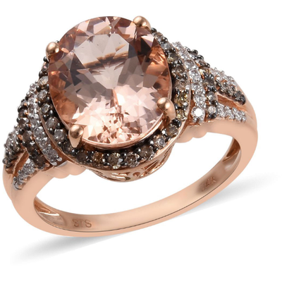 Morganite & Champagne & White Diamond Ring in 14K Rose Gold Gemstone Collectors U.S.