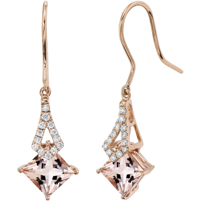 Morganite & Diamond Earrings In 14K Rose Gold Gemstone Collectors U.S.