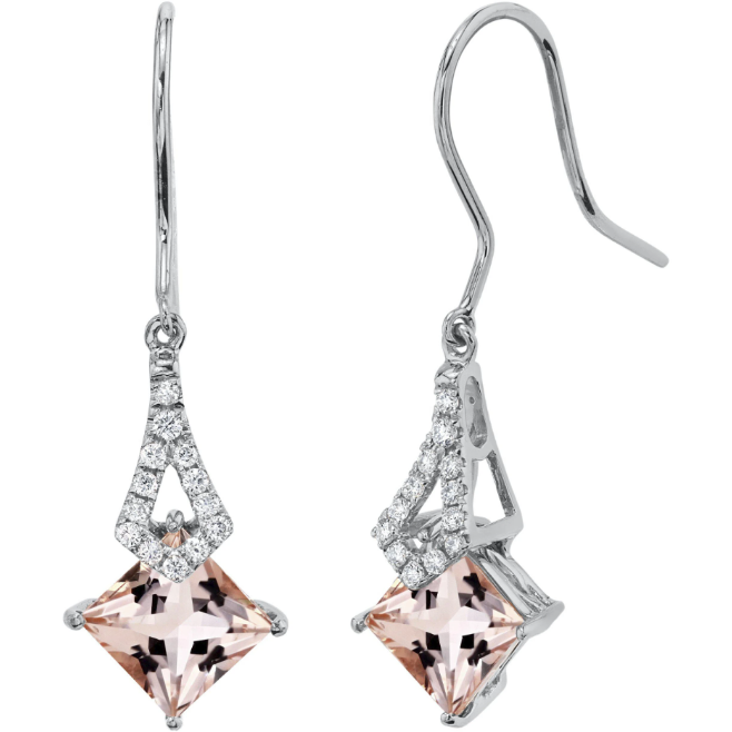 Morganite & Diamond Earrings In 14K White Gold Gemstone Collectors U.S.
