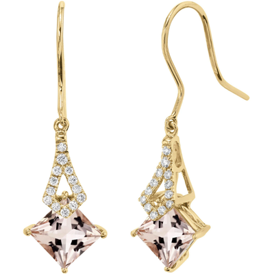 Morganite & Diamond Earrings In 14K Yellow Gold Gemstone Collectors U.S.