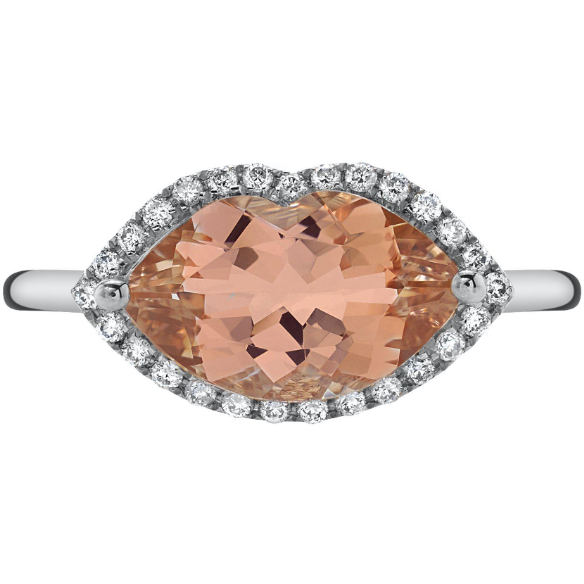 Morganite & Diamond Lip Ring in 14K White Gold Gemstone Collectors U.S.