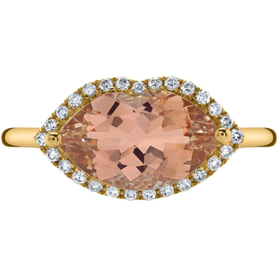 Morganite & Diamond Lip Ring in 14K Yellow Gold Gemstone Collectors U.S.