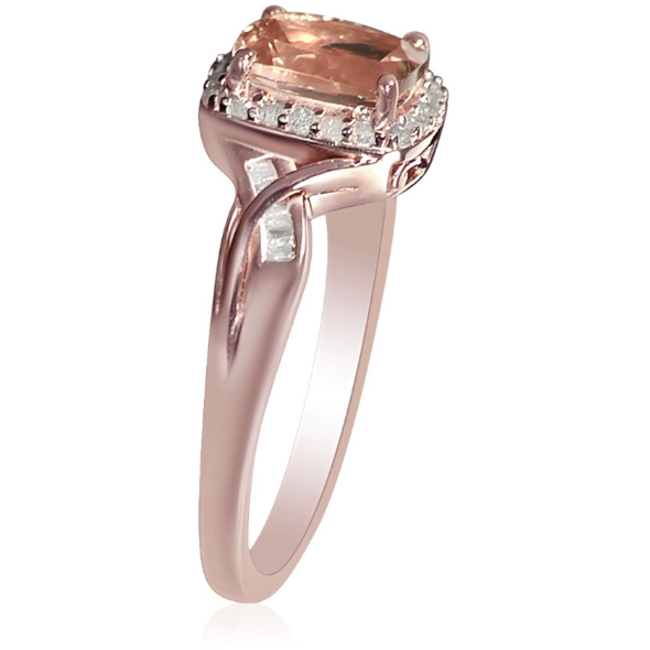 Morganite & Diamond Wedding Ring in Rose Gold over Sterling Silver Gemstone Collectors U.S.