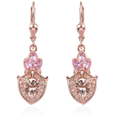 Morganite & Multi Gemstone Dangle Earrings in Rose Gold over Sterling Silver Gemstone Collectors U.S.