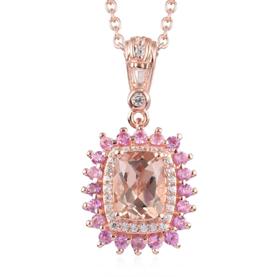 "Morganite & Multi Gemstone Pendant Necklace 20"" in Rose Gold over Sterling Silver Gemstone Collectors U.S."