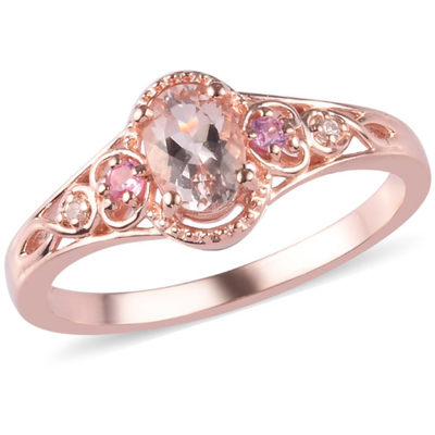 Morganite & Multi Gemstone Ring in Rose Gold over Sterling Silver Gemstone Collectors U.S.