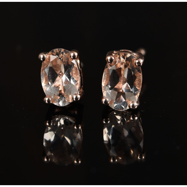 Morganite Oval Stud Earrings in Rose Gold over Sterling Silver Gemstone Collectors U.S.