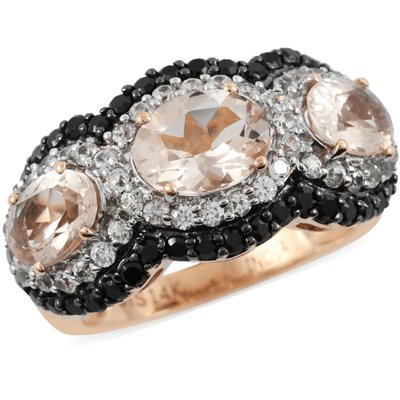 Morganite, White Zircon & Black Spinel Trilogy Ring in Rose Gold Gemstone Collectors U.S.