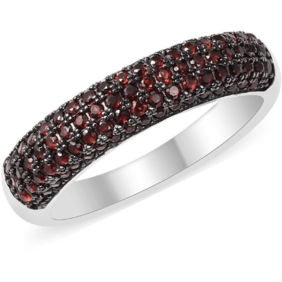 Mozambique Garnet Band Ring in Platinum over Sterling Silver Gemstone Collectors U.S.