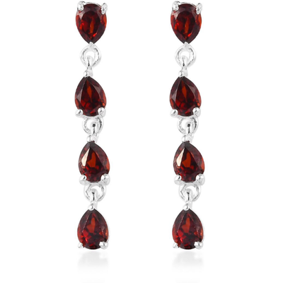 Mozambique Garnet Drop Earrings in Platinum over Sterling Silver Gemstone Collectors U.S.