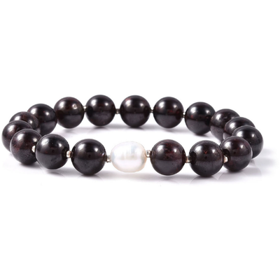 Mozambique Garnet & Freshwater Pearl Stretch Bracelet in Sterling Silver Gemstone Collectors U.S.