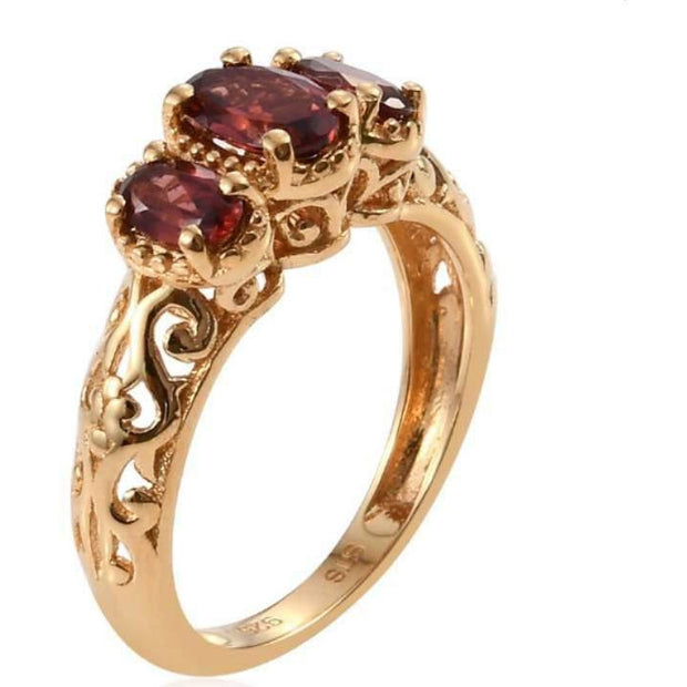 Mozambique Garnet Openwork Trilogy Ring in 14K Yellow Gold over Sterling Silver Gemstone Collectors U.S.