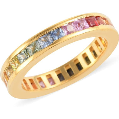 Multi Color Sapphire Band Eternity Ring in 14K Yellow Gold over Sterling Silver Gemstone Collectors U.S.