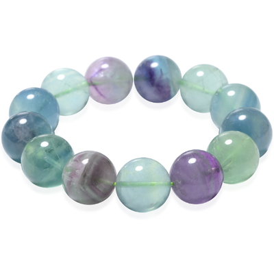 Multi Fluorite Bead Stretch Bracelet Gemstone Collectors U.S.