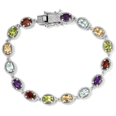 Multi Gemstone Bracelet in Platinum over Sterling Silver Gemstone Collectors U.S.