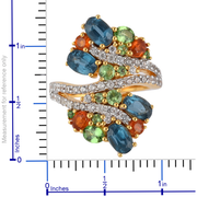 Multi Gemstone Cluster Bypass Ring in 14k Vermeil Yellow Gold over Sterling Silver Gemstone Collectors U.S.