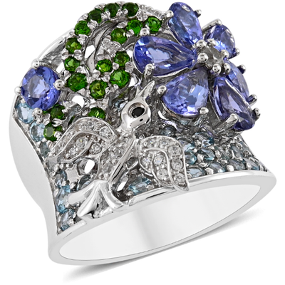 Multi Gemstone Cluster Ring in Platinum over 925 Sterling Silver Gemstone Collectors U.S.