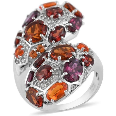 Multi Gemstone Cluster Ring in Platinum over Sterling Silver Gemstone Collectors U.S.