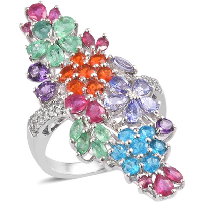 Multi Gemstone Floral Cluster Statement Ring in Platinum Over Sterling Silver Gemstone Collectors U.S.