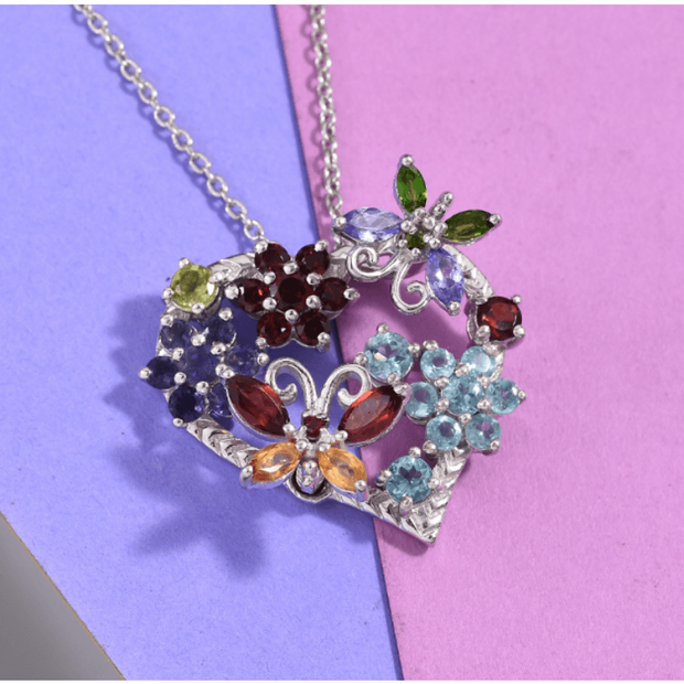 Multi Gemstone Heart Pendant Necklace 20 Inch in Platinum over Sterling Silver Gemstone Collectors U.S.